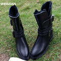 WEIMIAN 2017 High quality Brand genuine leather boots Zip square heels autumn winter ankle boots sexy fur snow boots shoes woman