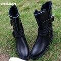 WEIMIAN 2017 de Alta calidad de Marca de cuero genuino Con Cremallera cuadrado tacones otoño invierno botines sexy botas de piel de nieve zapatos mujer