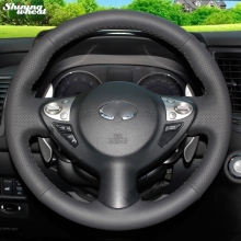 Shining wheat Black Leather Steering Wheel Cover for Infiniti FX FX35 FX37 FX50 Nissan Juke Nissan Maxima 2009-2014