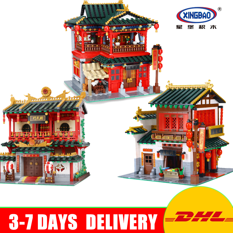 DHL XingBao Creative Chinese Style 01001 + 01002 +01004 Model Gift For Children Education Building Blocks Bricks Toys Lepin bride and bridegroom custom made tang suit chinese wedding bricks set model building blocks education toys for children kl9007