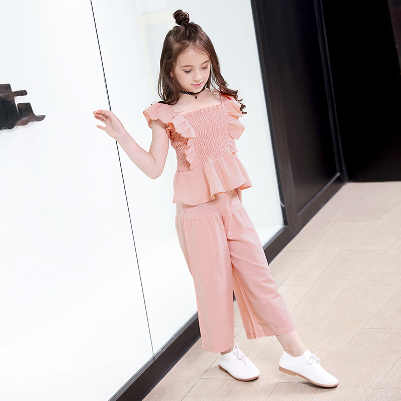 2018 Babygirl Summer Clothes Fashion Cotton Set Clothes Girl Suits Kids Sleeveless Tops+Pants Children Clothing Set Korean ...