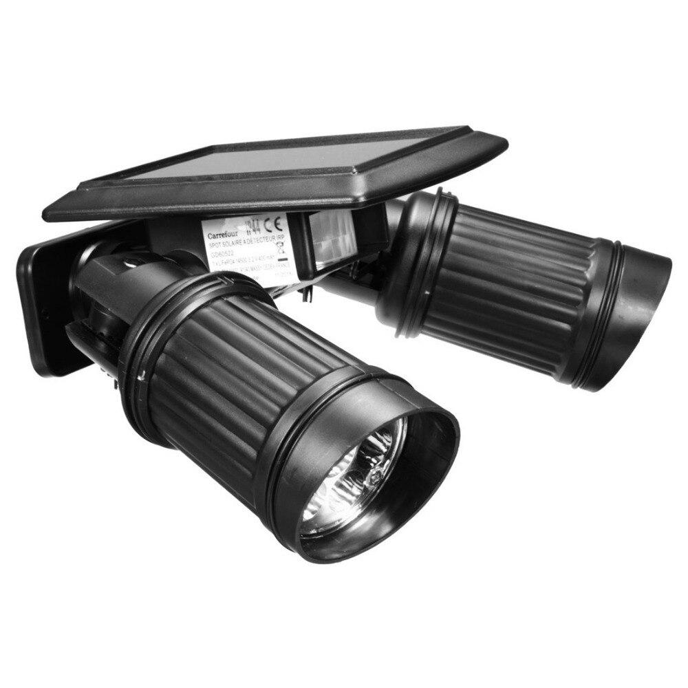 все цены на Sale 14LEDs LED Solar Lamp PIR Motion Sensor Dual Head Spotlight Adjustable Waterproof Wall Light for Yard Garden Driveway онлайн