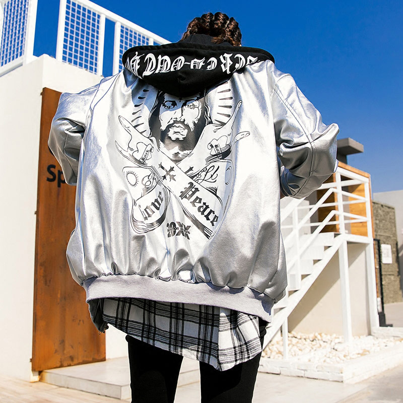 TREND-Setter 2018 Spring Hip Hop Style Sliver Leather Jacket Women Autumn Funny Pattern Letters Jacket Hooded Loose tept79001 trend ready letters casual style