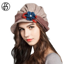 FS Winter Vintage Wool French Beret Hats With Flower For Women Ladies Black Gray Orange Blue Khaki Baret Short Brim Beret Hat(China)