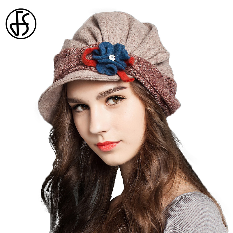 FS Winter Vintage Wool French Beret Hats With Flower For Women Ladies Black Gray Orange Blue Khaki Baret Short Brim Beret Hat