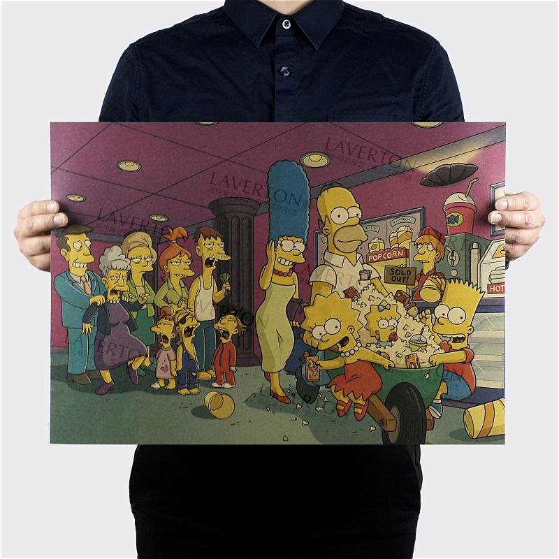 Free shipping,The Simpsons F Style/classic Cartoon Comic /kraft paper/bar poster/Retro Poster/decorative painting 51x35.5cm