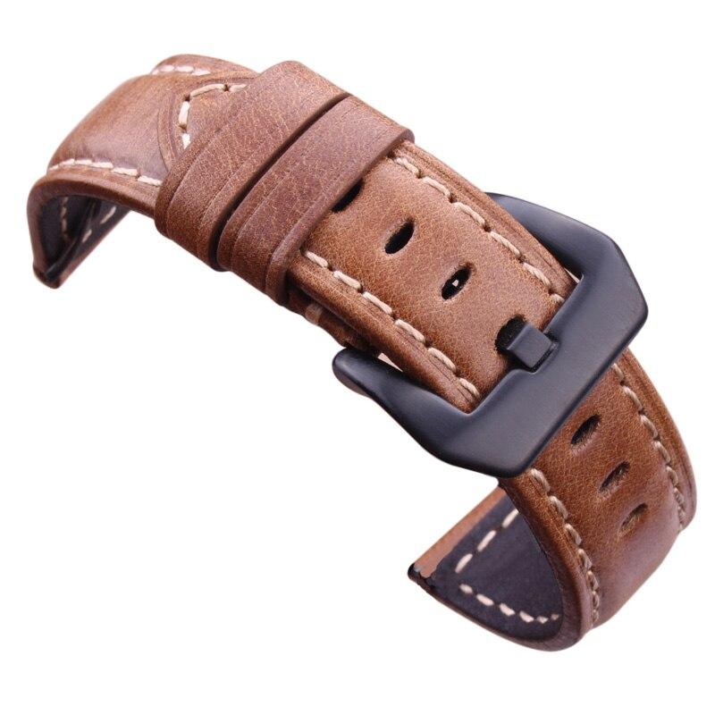 Genuine Leather Watchbands 20mm 22mm 24mm Dark Brown Vintage Watch Strap With Silver Black Stainless Steel Buckle