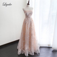 Liyuke Lustrous Lace Strapless Sleeveless A Line Mother of the bride dress With Beading Pearls Sequined With Flower Formal Dress