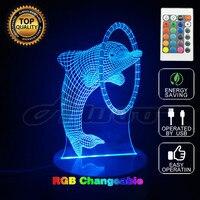 Бесплатная доставка цельнокроеное платье Multi-Цветной bulbing Свет дельфин 3D Иллюзия Glow партия Декор лампы с пульта дистанционного управления