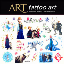 Ice Princess Family Children Temporary Tattoo Body Art Flash Waterproof Henna Tattoos Animal Modelling Wall Stickers