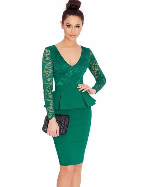 NEM065 Long sleeve peplum dress Deep V neck sexy lace dress plus size  elegant wear to 8e9326968de0