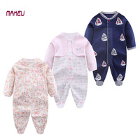 2017 Newborn Baby Boy Girl Clothes Jumpsuits Spring Autumn Long Sleeve MaHeu Brand Infant Baby 100% Cotton Romper with Sock