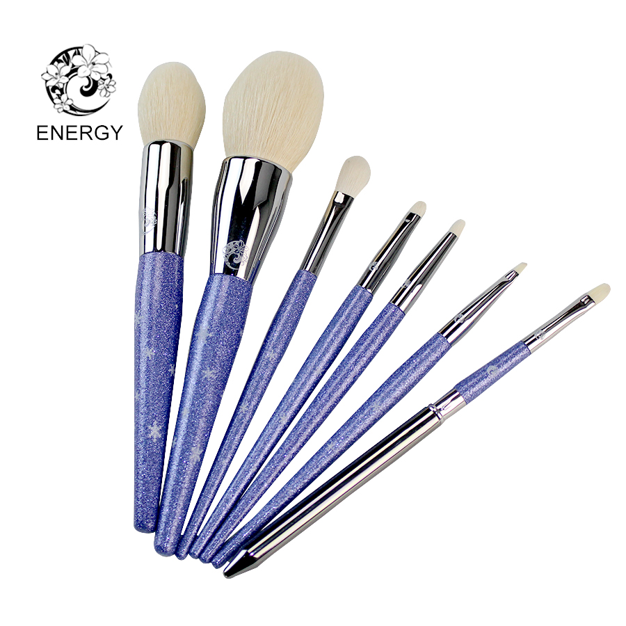 ENERGY Brand Snowy Starry Sky 7pcs Goat Hair Makeup Brushes Make Up Brush Set Brochas Maquillaje Pinceaux Maquillage B07SGW energy brand black goat hair kabuki powder brush make up makeup brushes brochas maquillaje pinceaux maquillage pincel s527b