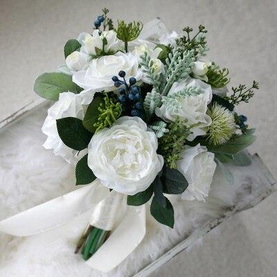 Белый Зеленый Свадебный Wdding Букет Вручать Цветы Свадебные Цветы Свадебные Букеты Высокое Качество 2016 Новое Прибытие Свадебные Цветы