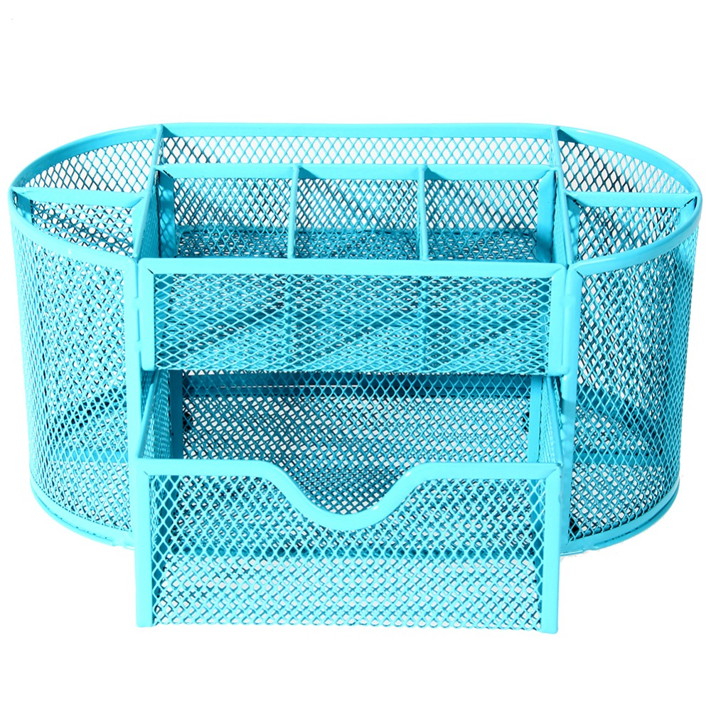 22 * 11 * 10.5cmNy Multifuction Stationery Desk Organizer 9 celler Metal Mesh Desktop Office Pen Pencil Holder Study Storage
