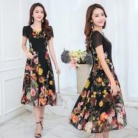 7 Colors Summer New Bohemian Chiffon Dress Female Temperament V Neck Short Sleeve Printing Long Dresses