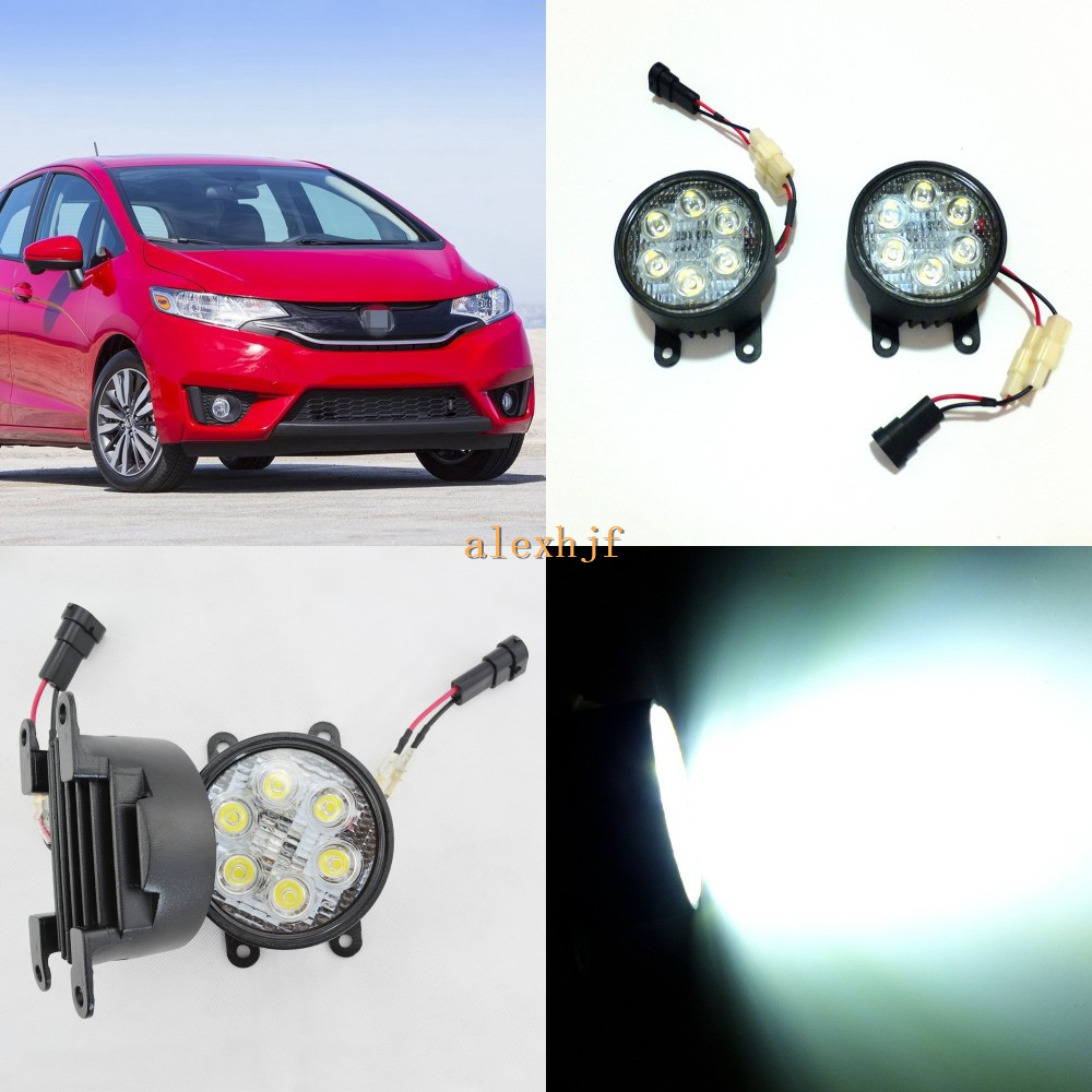 July King 18W 6LEDs H11 LED Fog Lamp Assembly Case for Honda Fit Jazz 2014~ON, 6500K 1260LM LED Daytime Running Lights july king 18w 6leds h11 led fog lamp assembly case for nissan x trail 2014 on rouge 2008 2011 2014 on 6500k 1260lm led drl