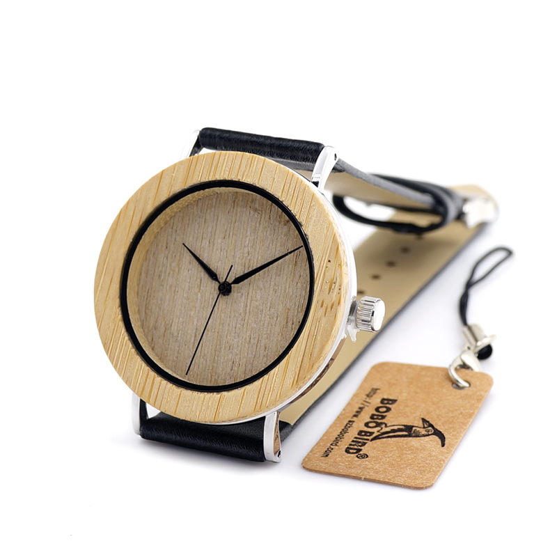 BOBO BIRD Fashion 2016 Men s Bamboo Wooden Watches With Genuine Cowhide Leather Band Luxury Wood
