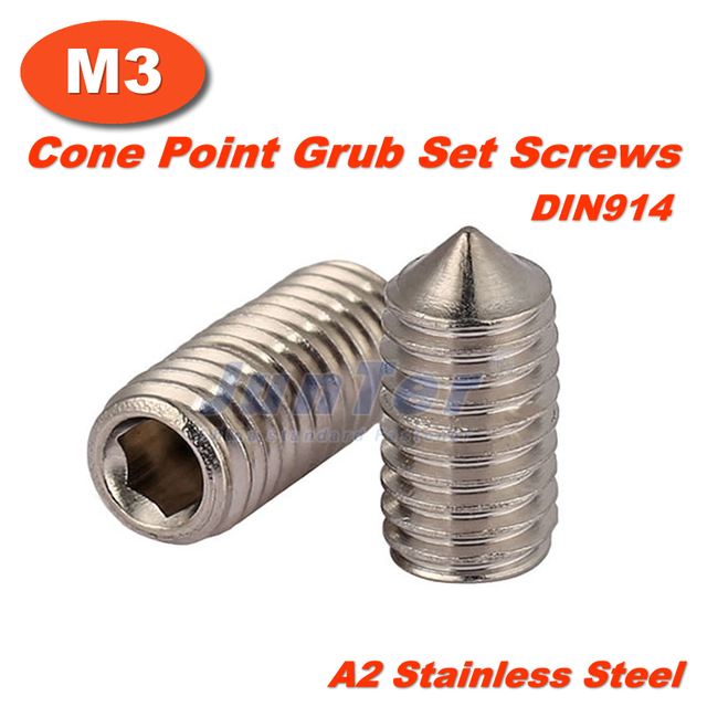 US $3 86 |50pcs/lot M3(3mm) A2 Stainless Steel Cone Point Grub Hex Socket  Set Screws DIN914-in Screws from Home Improvement on Aliexpress com |