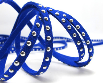 Free Ship 100 Meters Royal Blue 5 x1.5mm Microfiber Flat Faux Suede Leather Lace Cord w/ Gold Rivet Accents