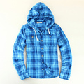 2016 Autumn Casual Men Plaid Flannel Shirt Long Sleeve Brand Cotton Plaid Shirt Mens Clothing USA Size S-XL With Hoodie Blue