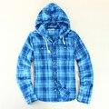 2016 Outono Casuais Camisa de Flanela Xadrez de Manga Longa Marca Dos Homens algodão Dos Homens Camisa Xadrez Roupas EUA Tamanho S-XL Com Capuz azul