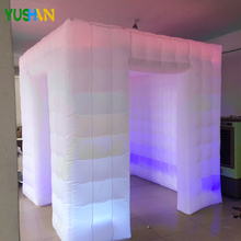 2018 Nice inflatable photo booth Party backdrop With RGB LED Strip & Curtain Logo free Print  Inflatable Enclosure Tent Sales 7 3ft inflatable photo booth party backdrops with led lights no equipment portable inflatable cabin tent wedding backdrop sales