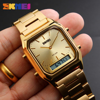 SKMEI Dual Display Wristwatches Men Fashion Casual Watch Stainless Steel Strap 30M Water Resistant Sports Watches