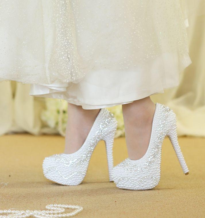 De Robe Blanc Parti Nq074 14 14cm Lady Super Talons Chaussures Mariage Plein Cristal Heel Plates Proms Mariée Haute formes Perles Danse Cm Pompes U6qwatAF