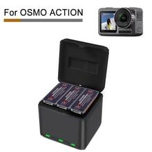 Para dji osmo ação carregamento rápido um arrastar três carregador de armazenamento tipo caixa carregamento acessórios ação osmo