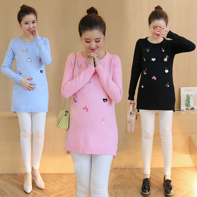 Fashion Knitted Maternity Sweater Pullovers Full Sleeve 2016 Spring Autumn Winter NEW Pregnant Women Embroidered Sweaters B445