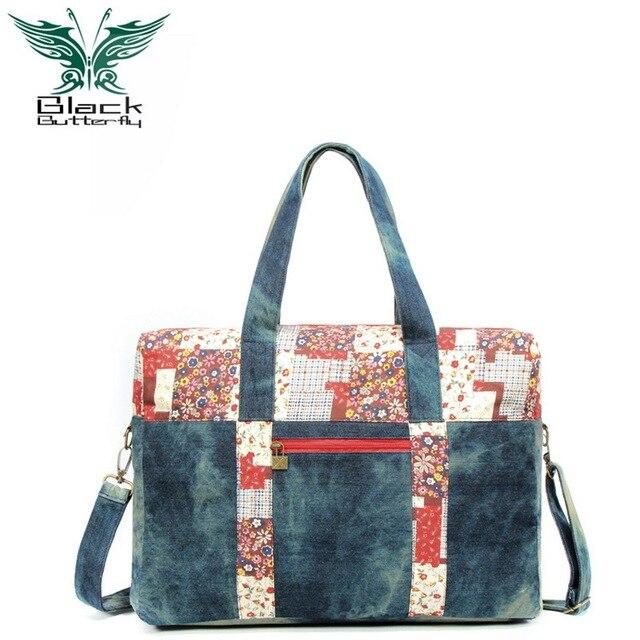 Black Butterfly Brand Women s Top-Handle Bags Handbags Denim Canvas Vintage  Shoulder Bag Teenager Designer Tote Bag b84fc86974