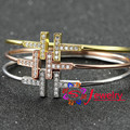New Brand Bangle Top Quality plated Gold Stainless Steel Jewelry Inlay CZCrystal T Letter Noble Women Cuff Bangles Bracelets