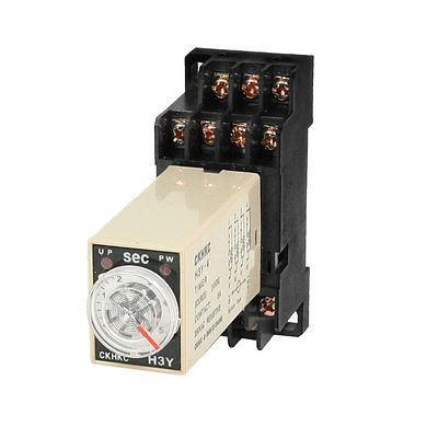 DC 24V H3Y-4 0-5 Seconds 5S 4PDT 14 Pins Power on Time Delay Relay w Socket