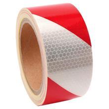 10m x 5cm taśma ostrzegawcza taśma odblaskowa taśma samoprzylepna pasek odblaskowy odblaskowe naklejki ruchu kolor: czerwony + biały