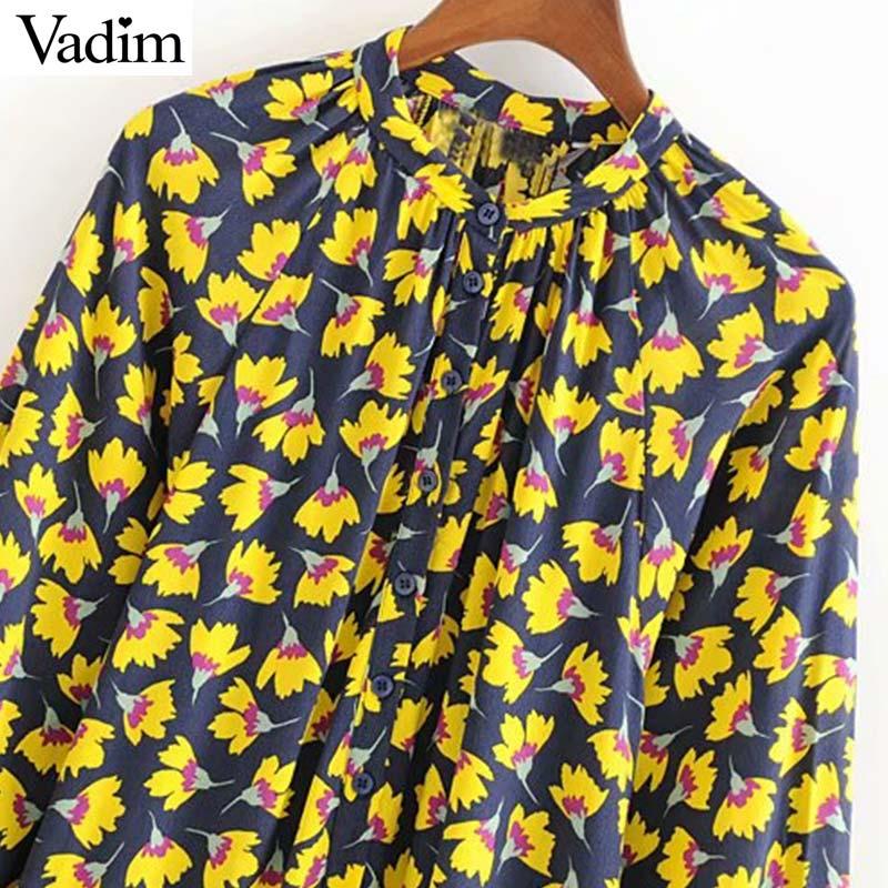 Vadim women stylish floral print midi dress long sleeve female casual wear straight mid calf dresses summer chic vestido QC547