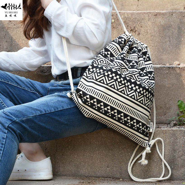 0a69e74e8ff3 Black and White Bohemian Backpacks Women Canvas Drawstring String Bags  Women Handbag Backpack Canvas Sack Pack Bag High Quality