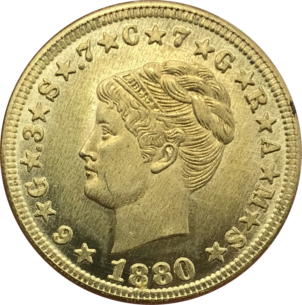 United States of America 4 Dollars Stella Pattern Four Dollar One Stella 400 Cents Gold Coins 1879 1880 Brass Metal Copy Coins