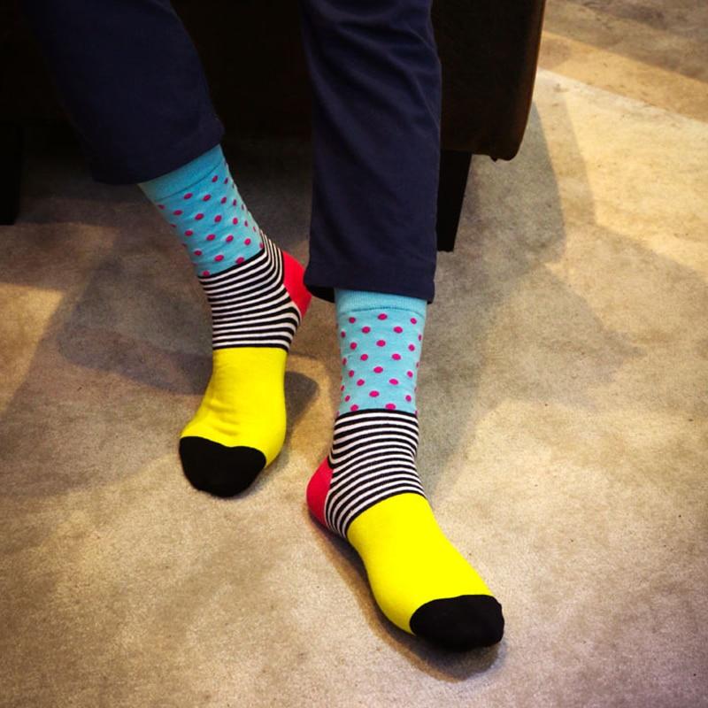 In stock Men Hit Color Funny Socks stripe dot Jacquard filled optic combed Cotton Male Sock wedding long new year socks hot sale