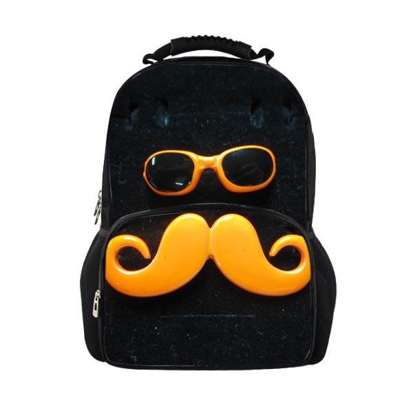 Стильный Очки усы печати подростков Школьные ранцы Для мужчин плечи мешок рюкзак для мал ...