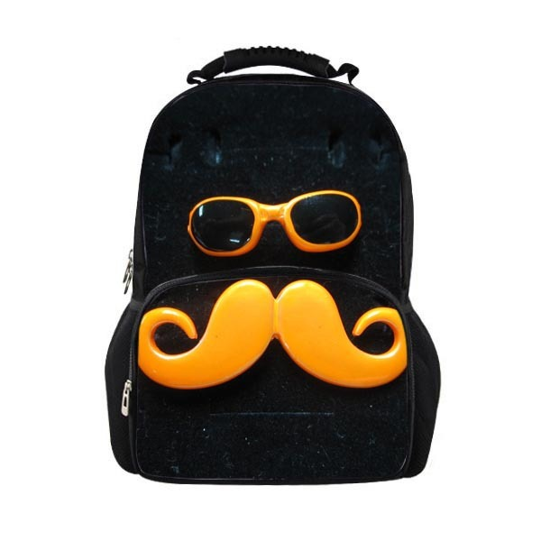 Stylish Glasses Mustache Print Teenagers School Bags Men s Shoulders Bag  Rucksack Children Boys College Student Book Bag Mochila 038d4593cfe88