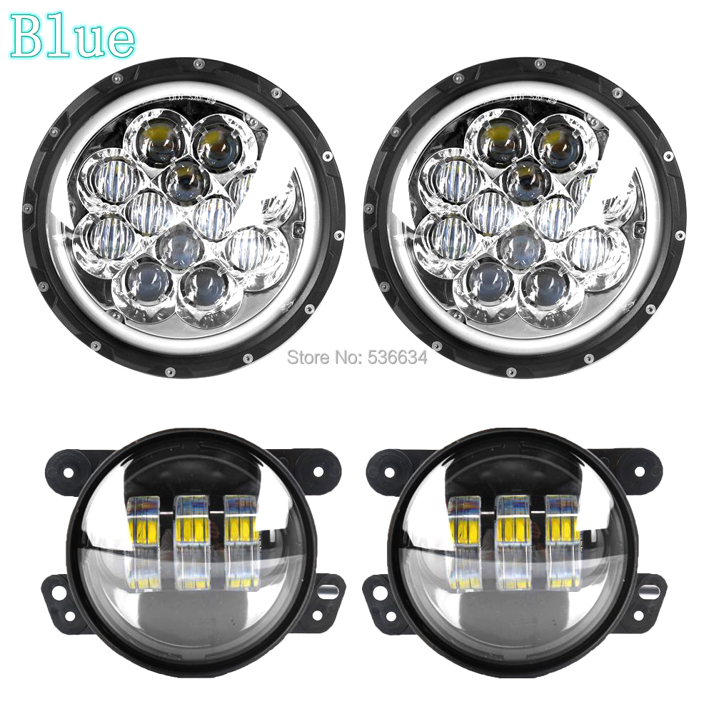 7inch led round headlights projector daymaker Hi/Low DRL Halo H4 Auto+4inch led Auxiliary fog lights for Jeep Wrangler JK 2 Door