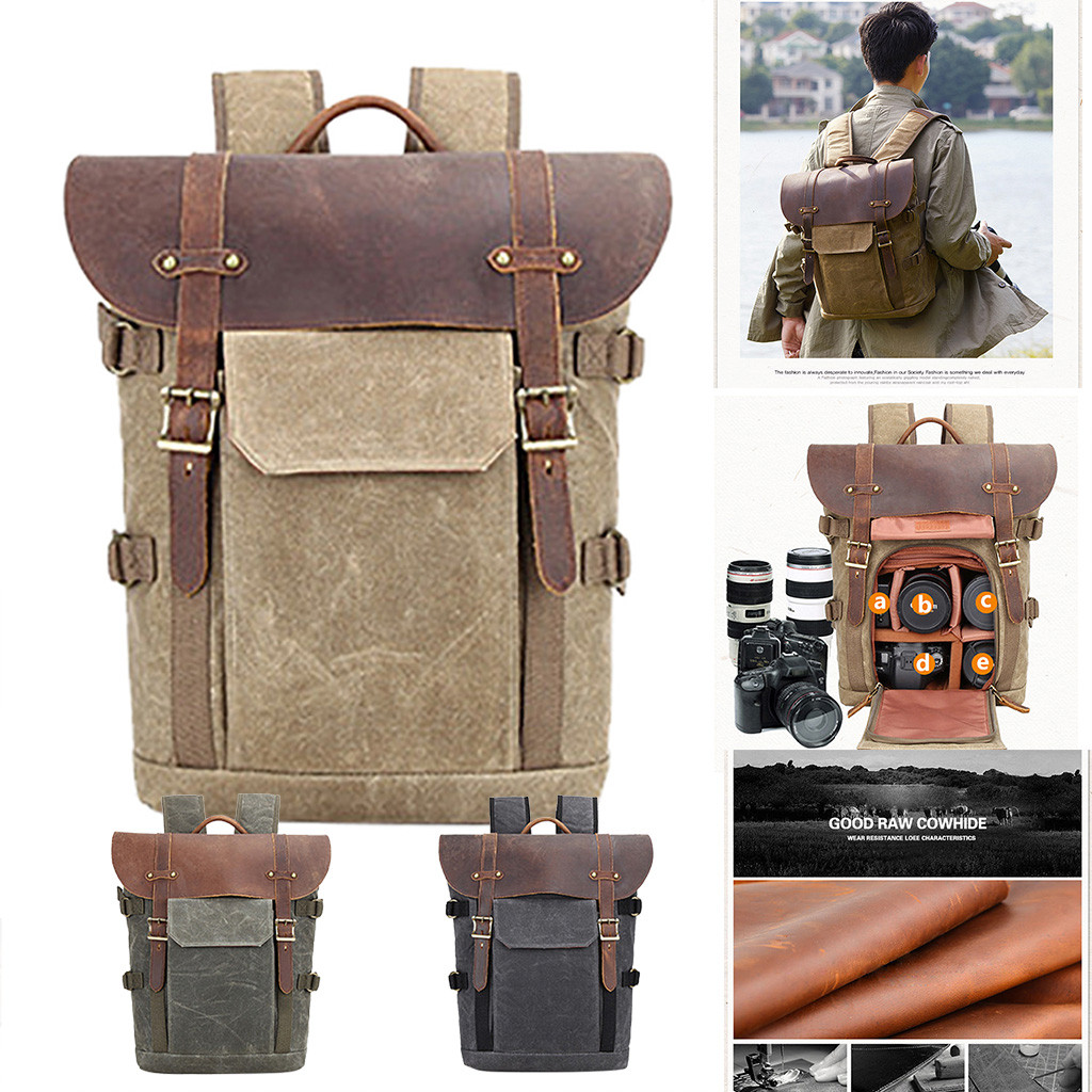 Hot Premium Vintage Photography Backpack Waterproof Photography Canvas Bag Cover #$