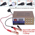 Full Automatic Car Battery Charger 110V-220V to 12V/24V Electric Intelligent Pulse Repair Type Maintainer 10A 100AH LED Display