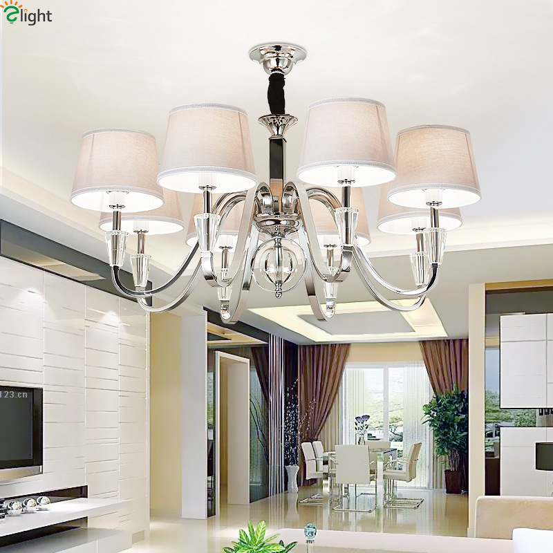 Modern Lustre Crystal Led Chandelier Lighting Chrome Metal Living Room Led Pendant Chandeliers Light Led Hanging Lights Fixtures modern crystal chandelier led hanging lighting european style glass chandeliers light for living dining room restaurant decor