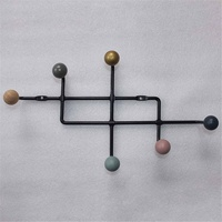 Nordic Wall hanger Wooden Balls Hooks Pretty Home Decoration Multi Color Wall Clothes Hanger Coat Rack Garden Round hook hook