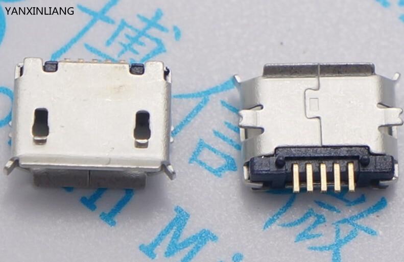 10pcs micro USB socket 5pin SMD Pin Long needle Copper shell Data port Charging Mini usb connector Free shipping