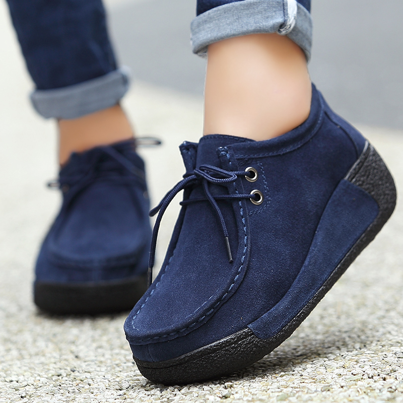 Women Genuine Leather Flats Platform Lace Up Creepers Moccasins Female Casual Shoes Sapato Feminino women platform oxfords brogue leather flats lace up shoes pointed toe creepers vintage female moccasins loafers women shoes z276