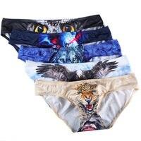 Wholesale 5pcs/pack Men's Briefs Sexy Animal Printed Underwear Bulge Pouch Jockstrap Underpants Stylish Males Triangle Panties
