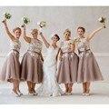 Дасти Фиолетовый Невесты Платье с Белого Кружева Чай Длина V назад Короткие Женщины Формальные Maid of Honor Dresse для Свадеб дешевые